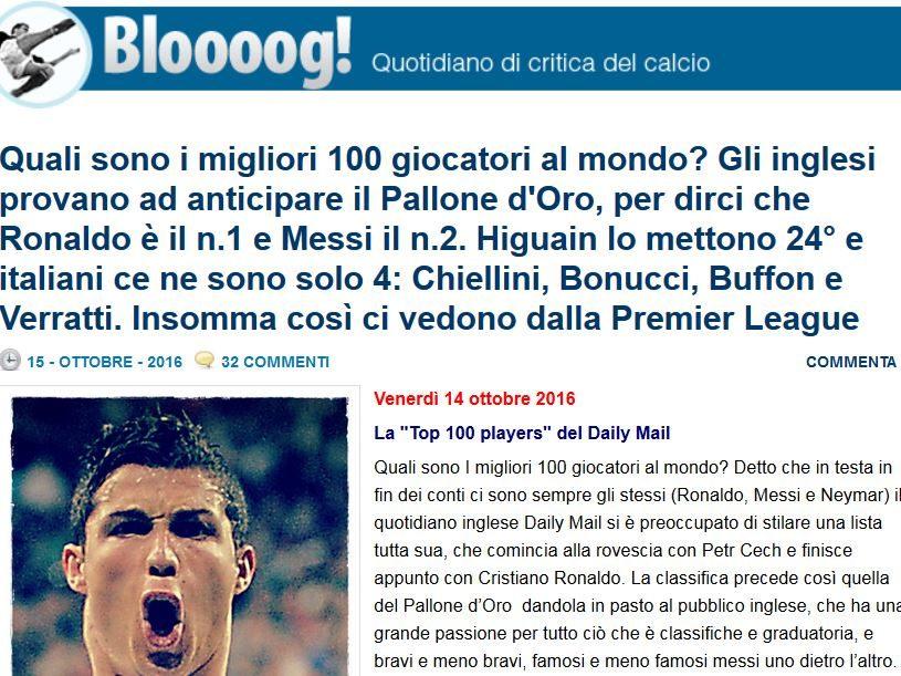 #NOBAVAGLIO/ BLOOOOG! di FABRIZIO BOCCA – Quali sono i migliori 100 giocatori al mondo?