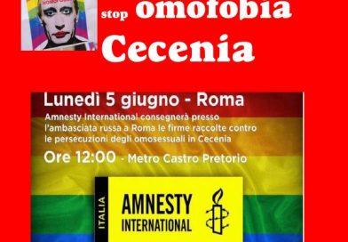 """#NOBAVAGLIO – In piazza con Amnesty: """"Stop omofobia in Cecenia"""""""