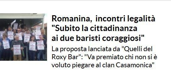 """#NOBAVAGLIO / QUELLIdelRoxyBar: """"Rilanciamo la proposta di Borrometi: cittadinanza ai due baristi che hanno denunciato i Casamonica"""""""
